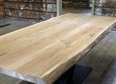 Massief Boomstamtafel Elmwood- Eettafel - Stalen Tafelpoten Metaal Zwart - 220x 95-100cm - 8 cm dik