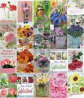 Verjaardag wenskaarten bloem 20 stuks assortiment - Felicitatie kaarten - Gefeliciteerd kaarten