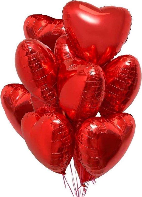 Hartjes Ballonnen Rood 10 Stuks inclusief Gouden Lintrolletje| Folie Ballonnen set voor Valentijnsdag | Helium Ballon | Party Feest Blonnen | Romantische Versiering - 45cm