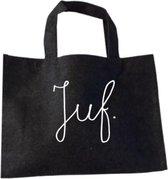 Tas Voor De Juf - Juf. - Juf Bedankt Cadeau - Bedankje Juf Kado - Vilten Shopper - Antraciet Vilten Tas Met Hengsels