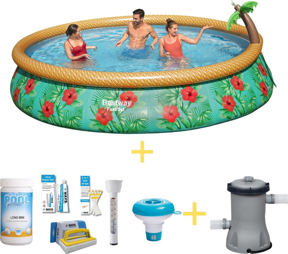 Bestway Zwembad - Fast Set - Paradijs Bloemen - 457 x 84 cm - Inclusief WAYS Onderhoudspakket & Filterpomp