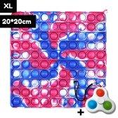 Pop It XL Groot – 20x20 cm - Met Simple Dimple Fidget Spinner – Pop It Fidget Toy – Fidget Toys - Fidget Speelgoed - Rood/Blauw