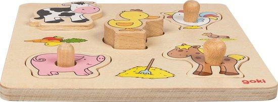 EM&EEF - Goki puzzel boerderij - houten puzzel 1 jaar - Multicolour