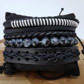 Leren Armband set met trekkoord leer/kralen, zwart/grijs/wit, 4-delig