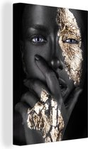 Canvas Schilderijen - Vrouwen - Goud - Zwart - Schmink - 80x120 cm - Wanddecoratie
