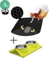Kat - Kattenbakmat - Kat benodigdheden - Kattenbak - Grit opvanger - Cat litter mat - 40 x 50 cm - Voerbak kat- Complete set
