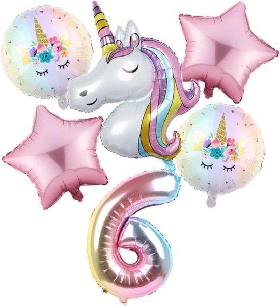 Set van 6 Stuks Unicorn / Eenhoorn ballonnen Verjaardagsfeestje Decoraties ( 6 jaar)