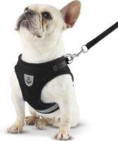 Hondentuig, hondenharnas met hondenriem – reflecterend - zwart – maat M (borst 35-40 cm)