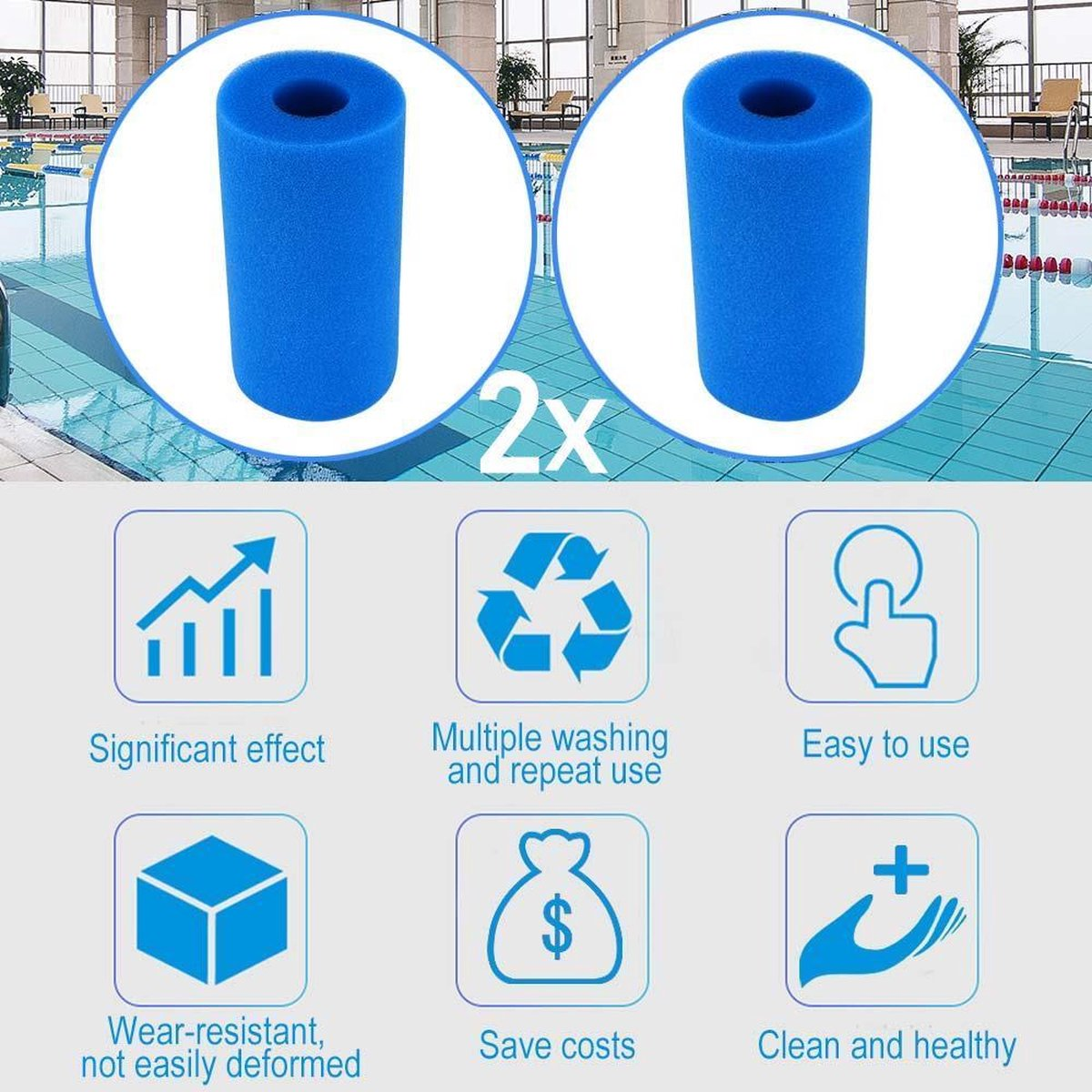 2x Intex Filter Type A Cartridge -Wasbaar & Herbruikbaar - Zwembad onderhoud - Intex A