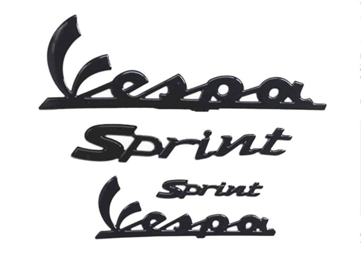 3D Glans zwarte Vespa Sprint logo set - Embleem - Stickerset met uitstekende afmetingen en Lettertyp