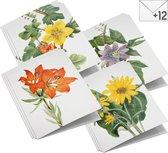 Wenskaarten set Wilde bloemen - 12 dubbele kaarten met enveloppen - zonder boodschap