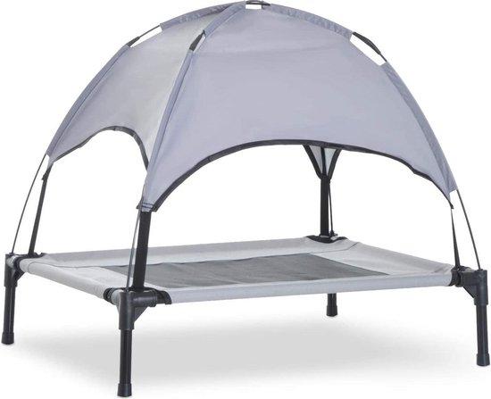 Honden Ligbed Met Zonnedak - Hondenbed Stretcher met UV Canopy - Hondenstretcher met zonnetent - Grijs - M: L76 x B61 x H100 cm - Elevated Dog Cot tent with UV Protection Canopy Shade