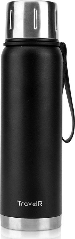 TravelR™️ Thermosfles - Thermoskan - Thermosbeker - Thermosflessen - Isoleerfles - Waterfles - Drinkfles - BPA Vrij - Roestvrij Staal - 750 ML - Mat Zwart