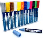 The Painting Club®️ - Krijtstiften - Raamstiften afwasbaar - Krijtstiften voor krijtbord - Kalkstiften - Raamstiften voor raam - Krijtmarkers - 12 kleuren