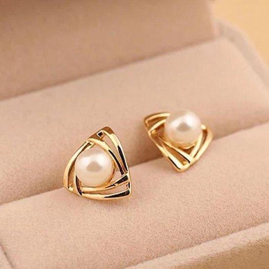 Lumici® | GoudParel Oorknopjes - 18K Gouden Parel Oorbel / Oorknop - Cadeau voor Vrouwen - Moederdag Cadeau - Valentijn - Liefde - Verrassing - Goud Parel - Beauty