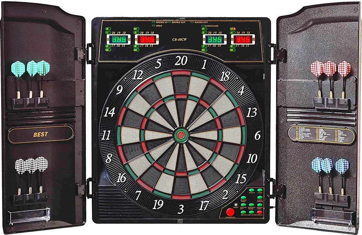 Evolution Oxford 1.0 Elektronisch dartbord, led-dartautomaat, kast met 12 dartpijlen, reservepunten en voeding, 1-16 spelers, dartborden, dartbord, dartborden volwassenen