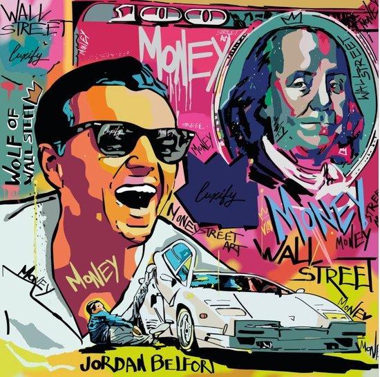 ✅ UNIEK 1 van de 10 -Wolf Of Wall Street - Kunstwerk Canvas 100x100 cm - groot - Print op Canvas schilderij - CUSTOM LUXURY WALL ART - FILM ART - CUSTOM WALL ART - CUSTOM DESIGN - Jordan Belfort - (Wanddecoratie woonkamer / slaapkamer)