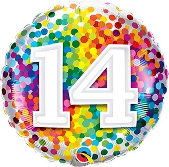 Folieballon Confettiprint Leeftijd 14 - 45 cm