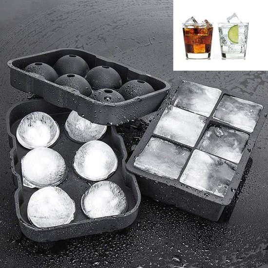TDR - Luxe IJsblokvormen  - 2 sets - 6 Grote Ronde IJsballen en 6 vierkante IJsblokken - Ice Cube Tray - Whiskey Bal Kubus IJsvormpjes - Siliconen - Zwart