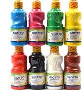 Tempera verf 250 ML - 8 stuks - Blauw - Geel - Groen - Rood - Wit - Zwart - Roze - bruin Set van 8x Acrylverf / temperaverf - 8 kleuren - Fles 250 ml - Tempera / acryl verf - Hobby - knutselmateriaal - Schilderij maken - Verf op waterbasis - Hobby-