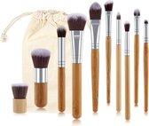 Evvie Professionele Make-up Kwasten - Kwastenset - Bamboe - 11 stuks