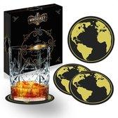 Whisiskey® Wereldkaart Onderzetters - Whisky Onderzetter - Onderzetters Voor Glazen - Coasters - Onderzetters Design - Whiskey Glazen