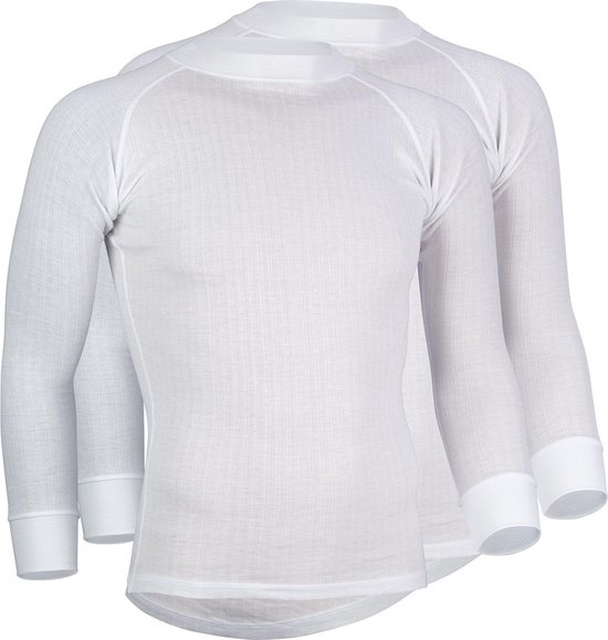 Avento Thermoshirt Lange Mouw Mannen - 2-Pack - Wit - Maat M