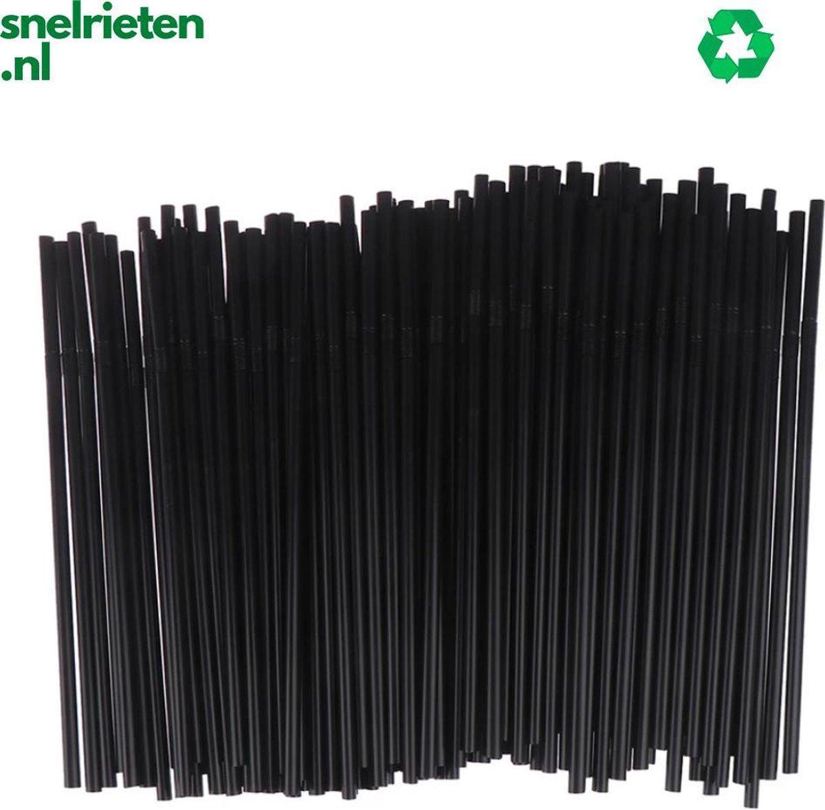 Buigbare plastic wegwerp rietjes   100 stuks  zwart  biologisch afbreekbaar