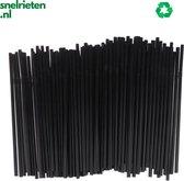 Buigbare plastic wegwerp rietjes | 100 stuks | zwart | biologisch afbreekbaar