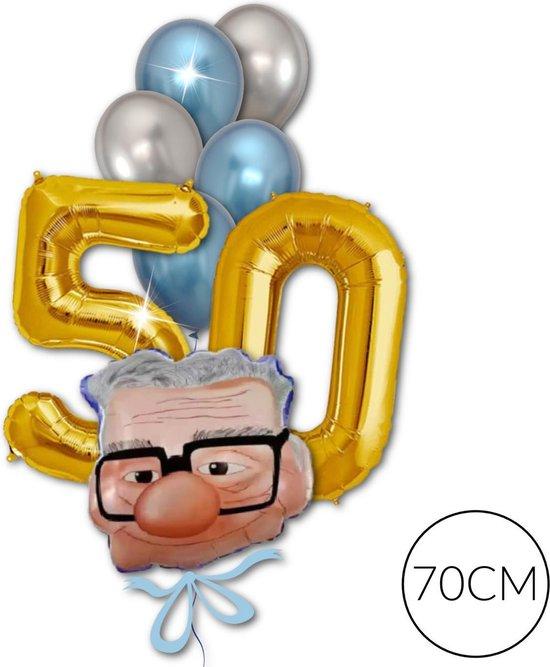 Folie Cijfer Ballon Goud 50 jaar Abraham Versiering, 70cm | Geschikt voor Helium