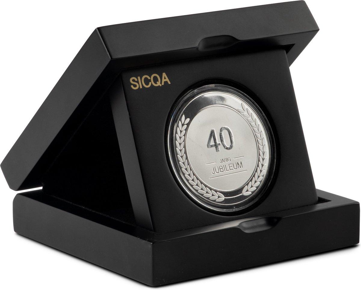 Origineel cadeau ouders 40 jaar getrouwd |Sicqa | Puur verzilverde munt | 40 Jaar | Luxe geschenkverpakking | Jubileum cadeau | Cadeau | Huwelijk | Huwelijkscadeau |