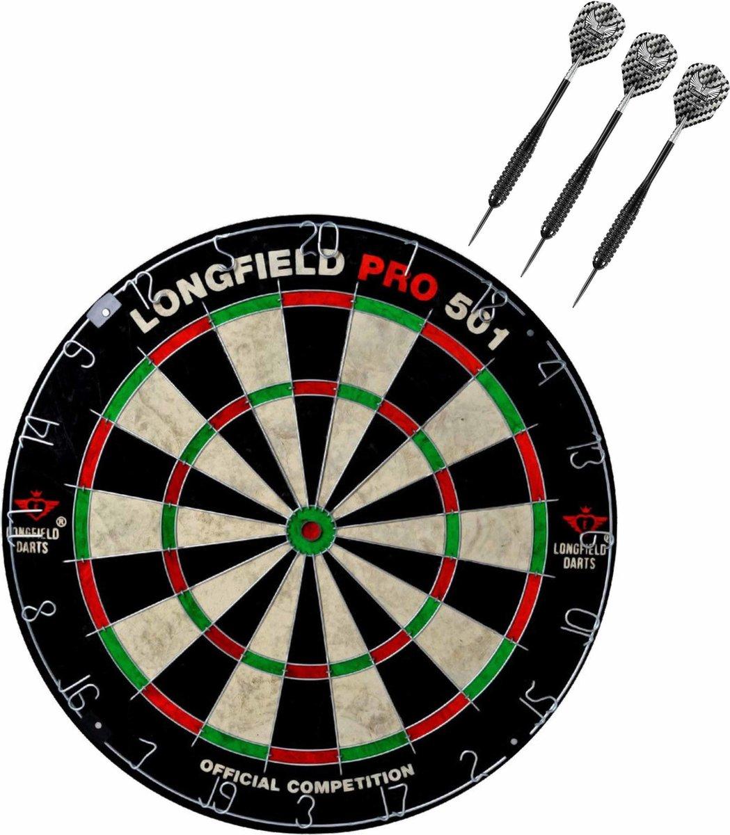 Dartbord set compleet van diameter 45.5 cm met 3x Black Arrow dartpijlen van 23 gram - Sporten darts