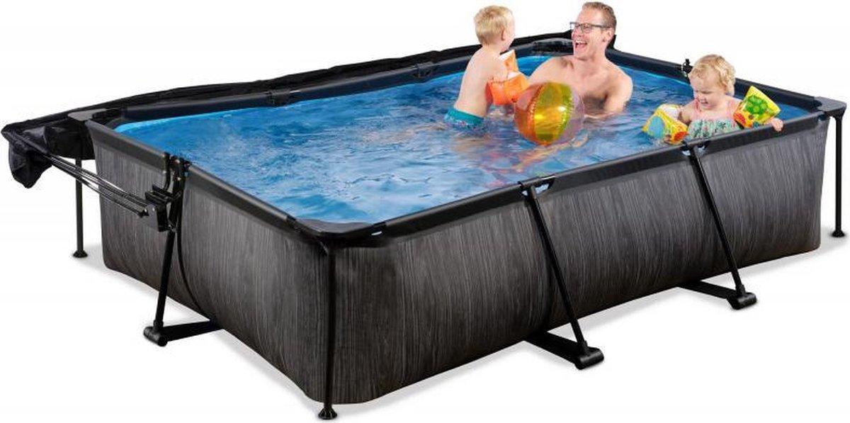 EXIT Zwembad Frame Pool Black Wood Zwembad 300 x 200 x 65 cm met Schaduwdoek en Filterpomp - Zwart