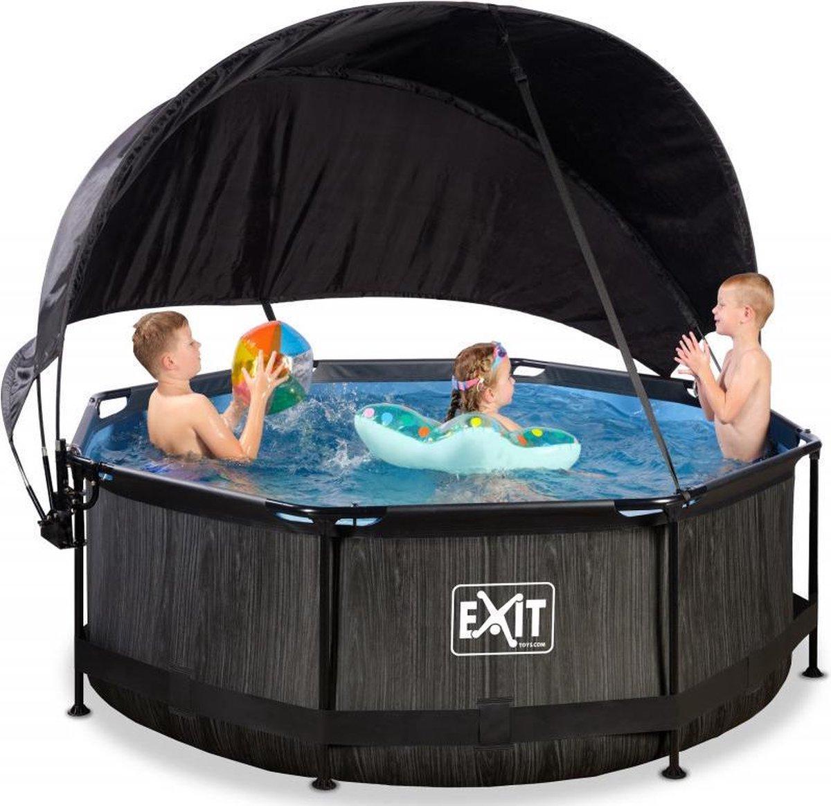 EXIT Zwembad Frame Pool Black Wood Limited Edition - 244 x 76 cm met Zonnedak en Cartridge Filterpomp