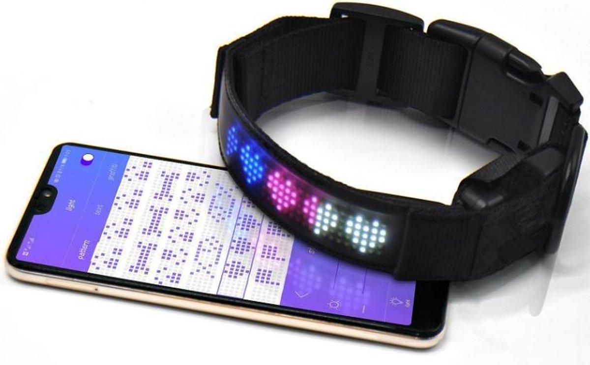 Hondenhalsband Smart LED Display - USB Oplaadbaar - LED kleuren verlichting - MAAT L - Verbind met t