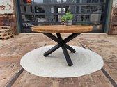 Zita - Home - eettafel - rond - 130cm - mango - zwart - metalen - 3 - poot - 6cm - dik - blad