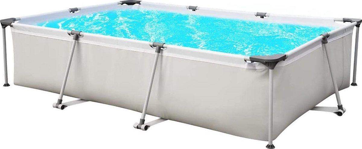 | zwembad| tuin bad|Rechthoekig opstelzwembad, tuinzwembad met metalen frame, 300 x 207 x 65 cm - grijs