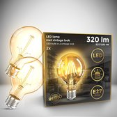 B.K.Licht - Led Lichtbron - filament - kooldraadlampen - globe - retro led lamp - E27 - G80 Edison - 2.200K - 4W - 320lm - amber kleur -  set van 2