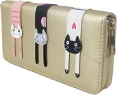 Dames Portemonee – Mini Wallet – Compacte Portemonnee - Kunst Leer – Kaart Houder – Kat goud