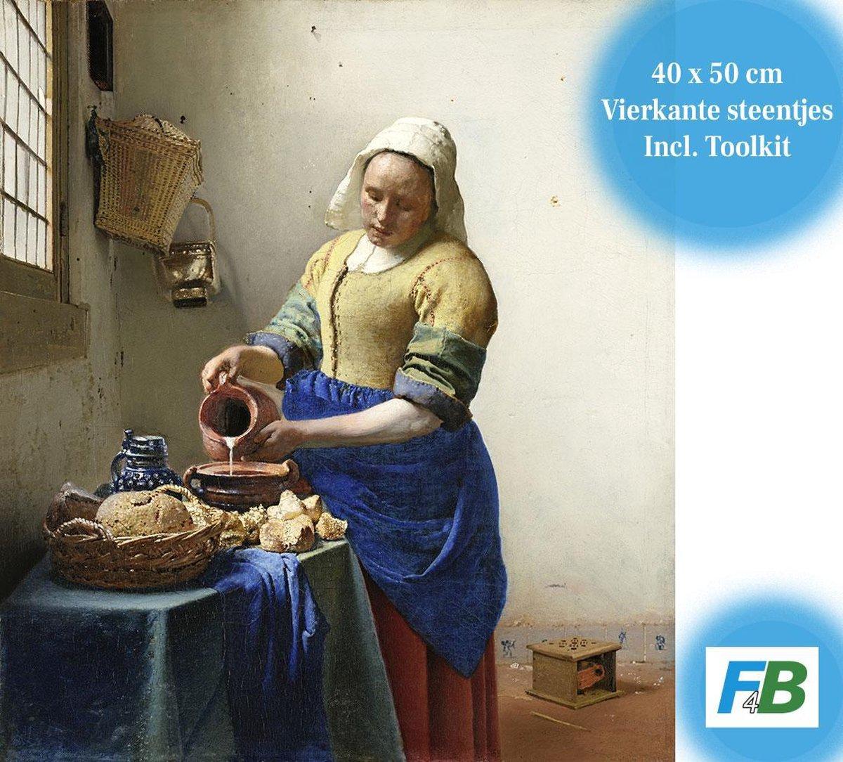 F4B | Het Melkmeisje | Johannes Vermeer | 40x50CM | Diamond painting pakket | volledig dekkend | Diamant Schilderen | vierkante steentjes