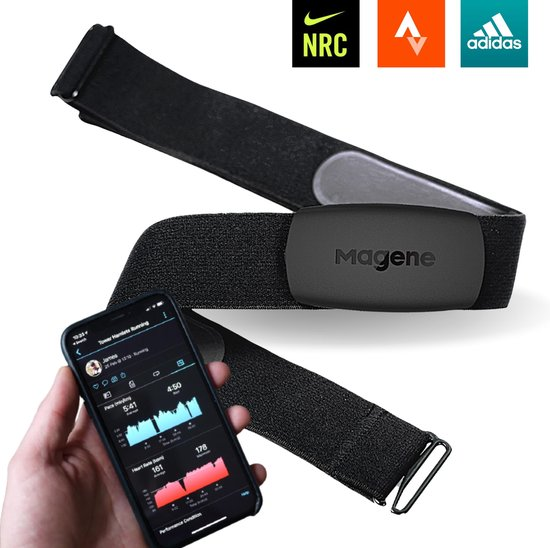 Hartslagmeter met Borstband - Universeel - Ant+/Bluetooth Functie - 1000 uur Batterijduur - Activity Tracker - Hartslagband - Elastisch en Verstelbaar - Lichtgewicht - 14 gram
