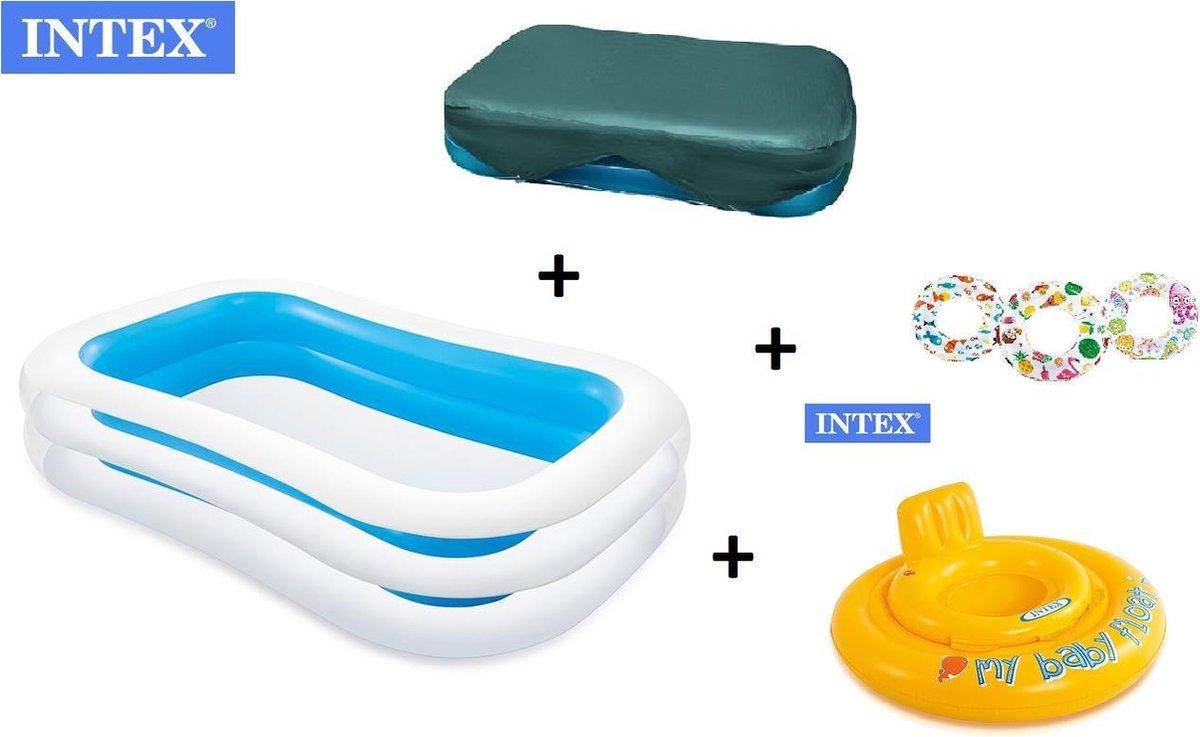 zwembad - zwembad intex afdekzeil - afdekhoes - familie zwembad - opblaasbare zwembad - Opblaasbare - Baby - Zwemtrainer COMBIDEAL - 262x175x56cm + GRATIS 1x Opblaasbare zwemband/zwemring 61 cm