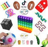 Fidget toys - Fidget toys pakket  - 22 stuks - Fidget cube - stressbal- tangle-  It fidget toy goedkoop - simple dimple - Pop It  - Fidgets - Pea popper - Mesh and marble - Fidget toys stress ball - Kleur pop it