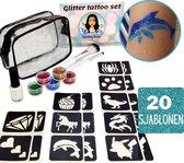 Glitter Tattoo Complete Set voor Kinderen | Mix Jongens en Meisjes | 20 sjablonen