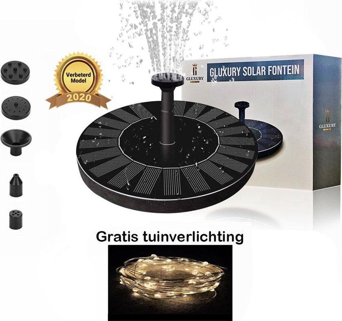 Solar Fontein op Zonne Energie + Gratis tuinverlichting - Extra Hoge Straal - Fontein pomp voor Tuin