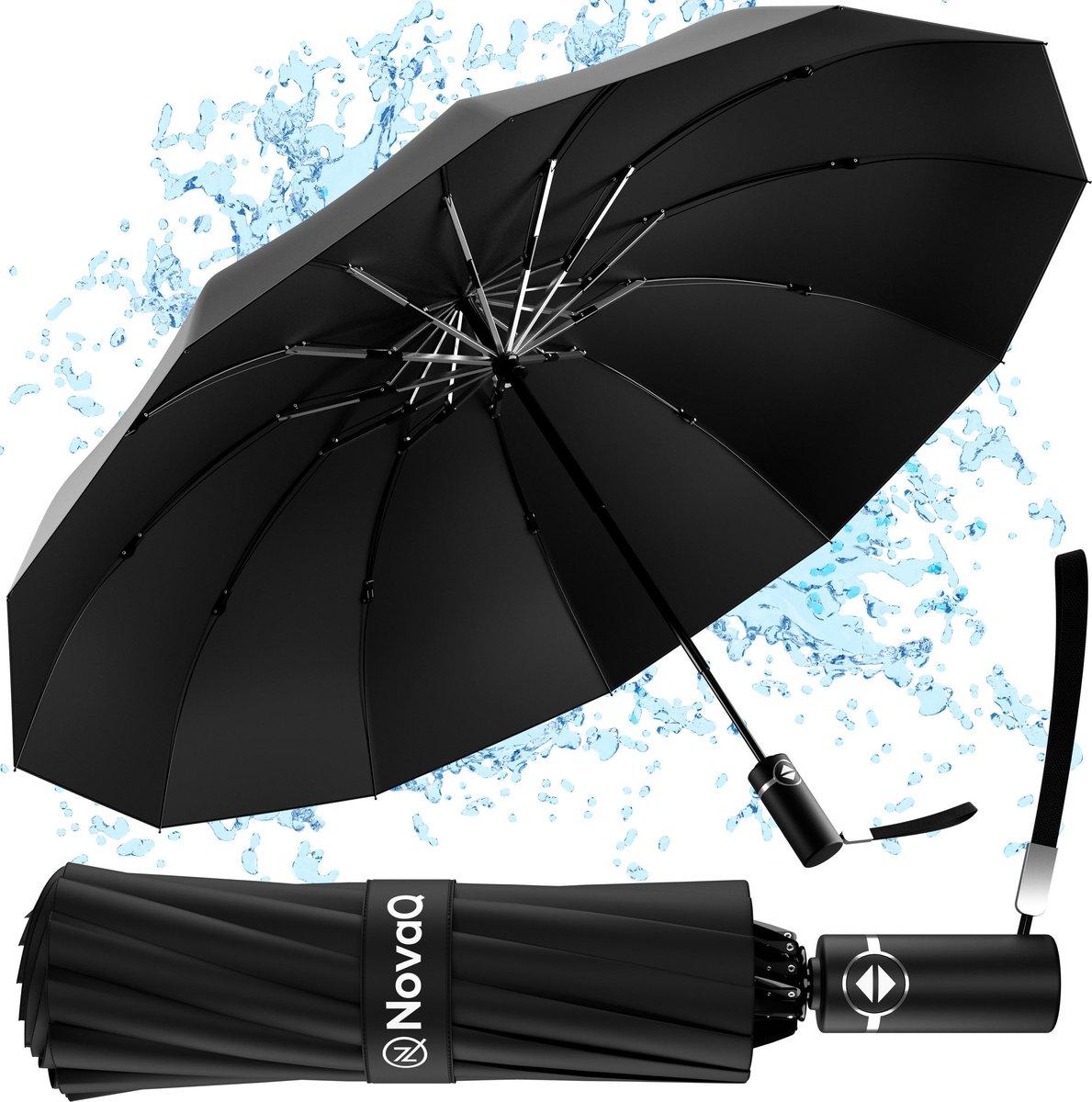 Storm Paraplu Opvouwbaar - Zwart - Polsband - Automatisch Uitklapbaar - Tot 100km p/u Windproof - 11