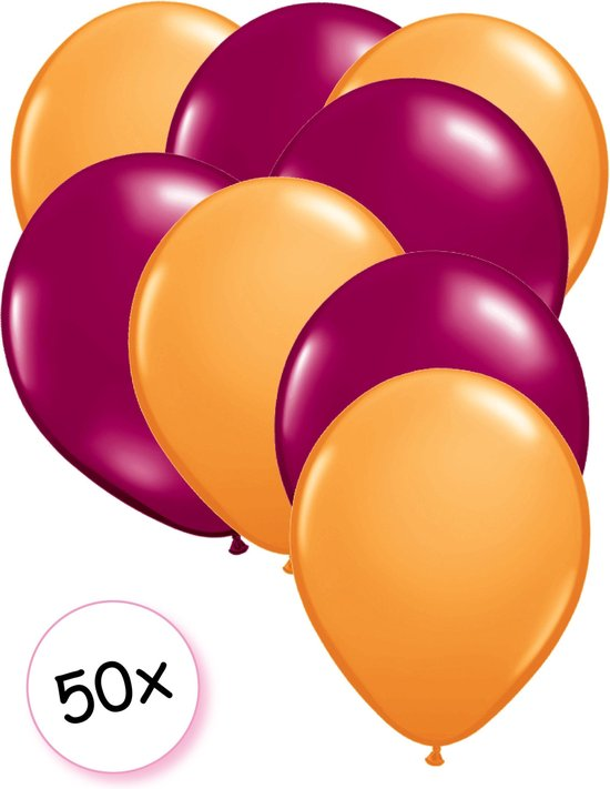 Ballonnen Oranje & Fuchsia 50 stuks 27 cm