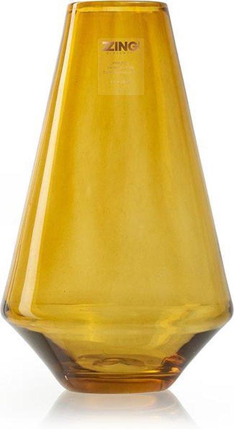 Zzing! Handgemaakte design vaas 'Zara' amber h25 d16 cm - Transparant - Kwaliteit - Geel olijf/ Yellow olive/ Oker geel - Bloemen/Boeket vaas- Decoratie
