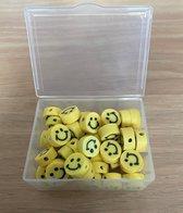50 stuks Kralen Smiley Geel - 1 cm - Figuurkralen - Kleikralen - Fimokralen - Kralen Emoji