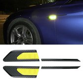 2 STKS Koolstofvezel Auto-Styling Spatbord Reflecterende Bumper Decoratieve Strip, Binnenreflectie + Externe Koolstofvezel (Lichtgeel)